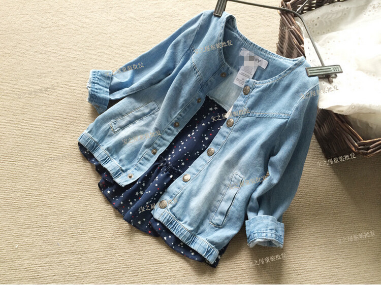 YNT03145 Retail New 2015 Spring Fashion Baby Girl Denim Jacket Patchwork Chiffon Print Stars Kids Outerwears