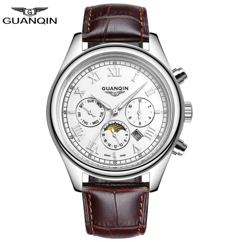 ФОТО Mens Watches Top Brand Luxury GUANQIN Leather Watchbands Quartz-Watch Waterproof 100M Relogio Masculino 2016 Montre Homme Clock