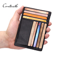 CONTACT'S Genuine Leather Thin Credit Card Holder Men ID Card Case Bank Credit Card Wallet For Credit Cards