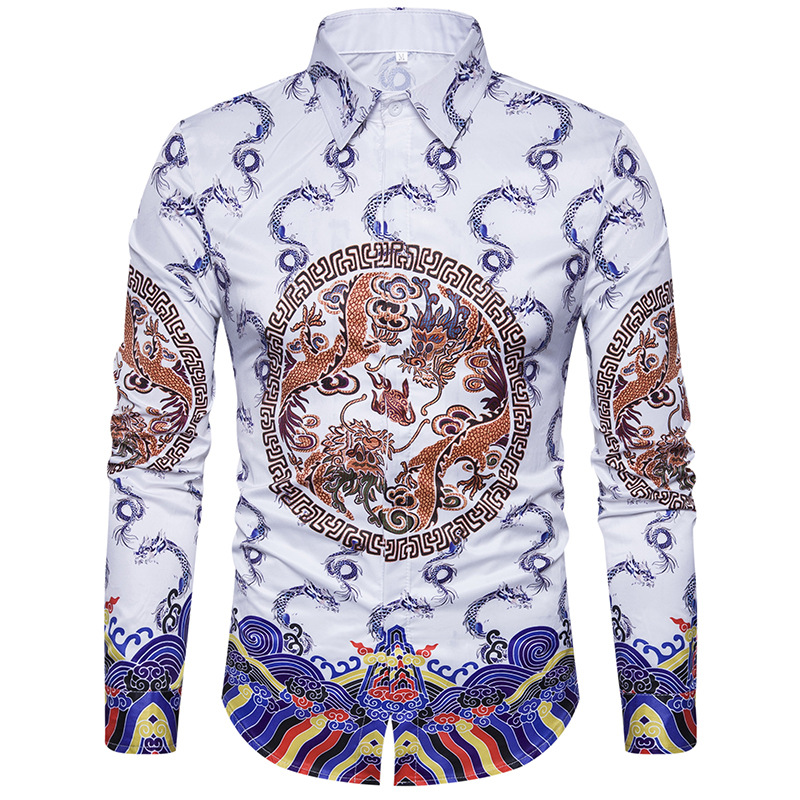 Men Brand 3D Shirt 2018 Spring New Chinese Style Print