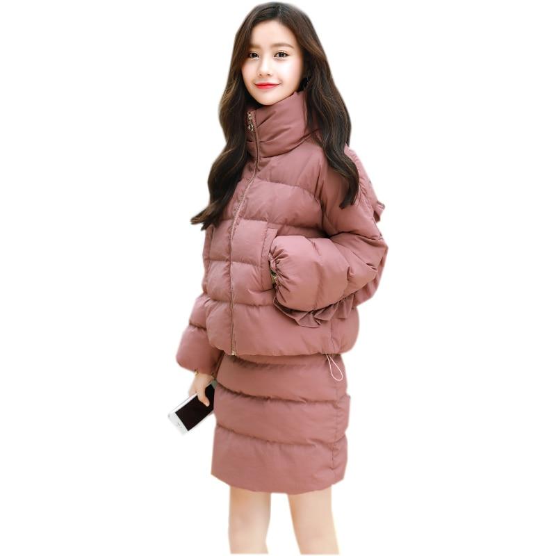 Winter Jacket Women 2017 Cotton Jacket And Skirt Two Pieces Manteau Femme Hiver Elegant Short Parka Wadded Jacket Women C3782 цены онлайн