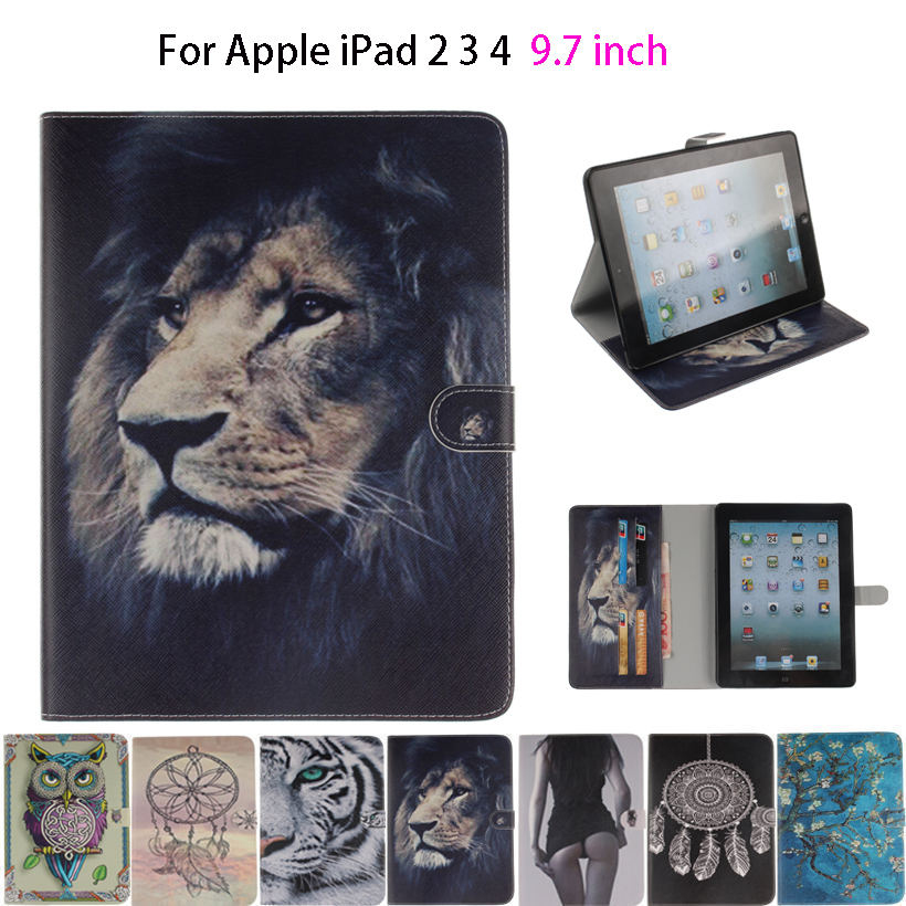 For Apple iPad 2 3 4 Case Cover Tablet Cartoon lion Owls Tiger animal Flip Cases Soft Silicone PU Leather Skin Stand Shell Funda for ipad mini4 cover high quality soft tpu rubber back case for ipad mini 4 silicone back cover semi transparent case shell skin