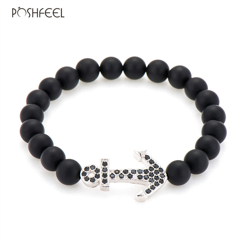 Poshfeel Cz Anchor Charm Bracelets For Men 8mm Black Onyx Beads Bracelets Women Handmade Jewelry Gift Mbr170250 Excellent In Quality