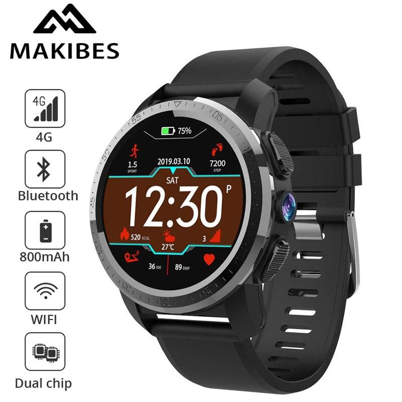 Nouveau Makibes M3 4G MT6739 double puce étanche montre intelligente téléphone Android 7.1 8MP caméra GPS 800mAh répondre appel SIM TF Smartwatch