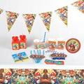 Набор для детского дня рождения в стиле Марио, бумажный стакан, баннер, шляпа, соломинки, тарелки, товары для вечеринки, одноразовая посуда д...