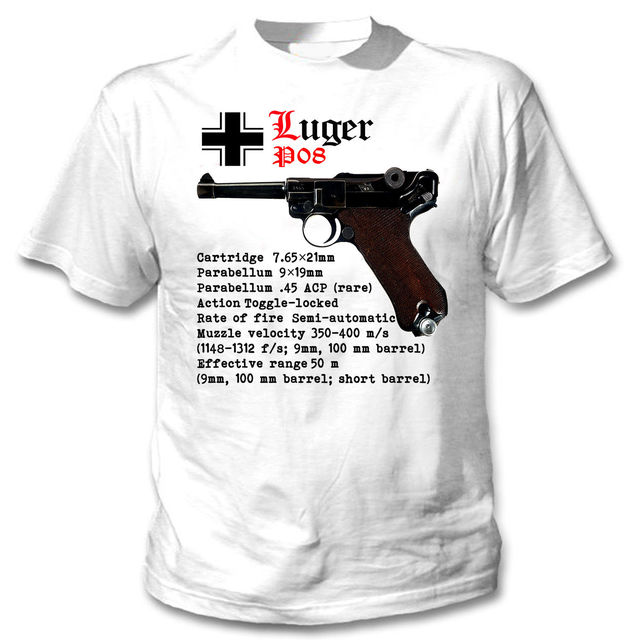 US $12 34 5% OFF|2019 Hot sale Summer Style LUGER P08 GERMANY WWII WORLD  WAR II NEW COTTON GRAPHIC TSHIRT Tee Shirt-in T-Shirts from Men's Clothing  on