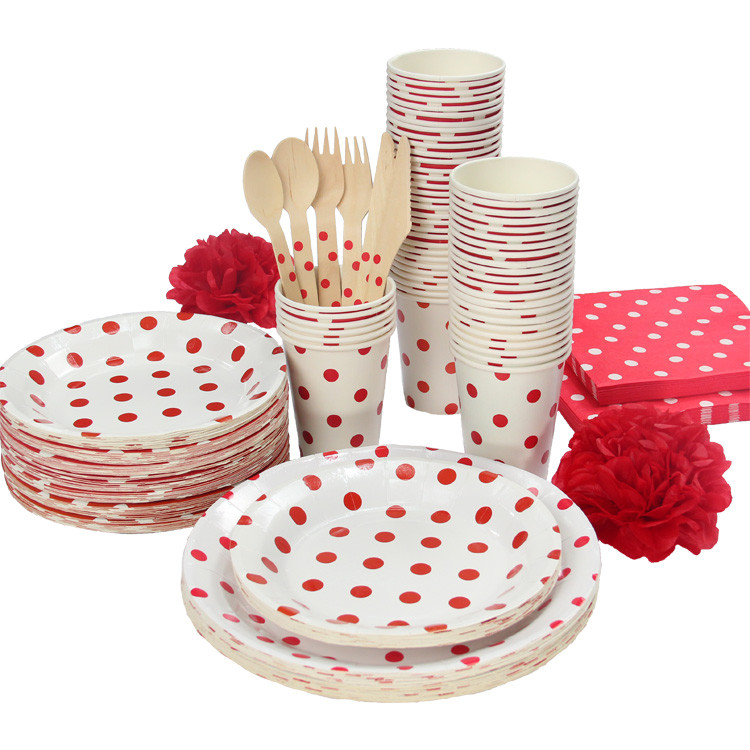 93pcs Polka Dots Party Tableware girl boy Birthday Party paper plate cups napkins straw Pink blue black red without Cutlery-in Disposable Party Tableware ...  sc 1 st  AliExpress.com & 93pcs Polka Dots Party Tableware girl boy Birthday Party paper plate ...