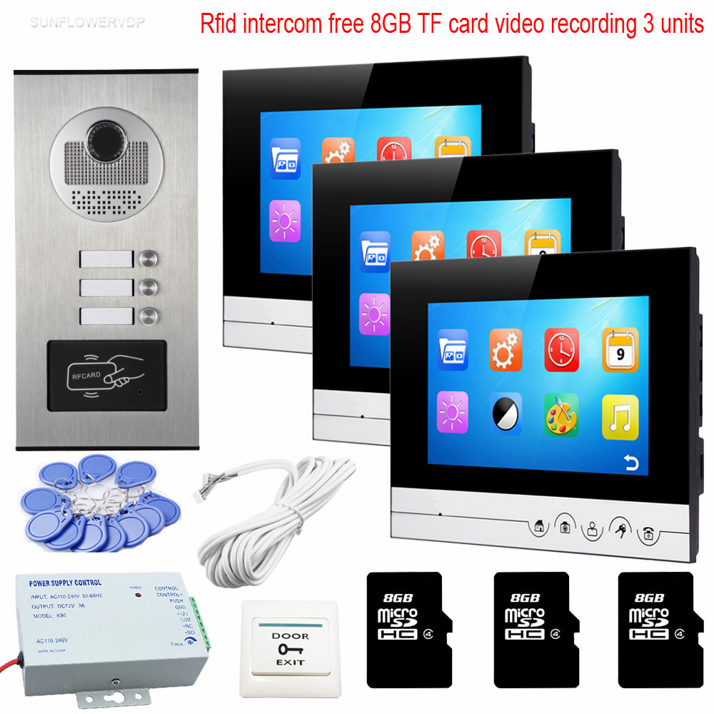 3 Buttons Rfid Camera Video Intercom With Recording 8GB TF Card Home Video Door Phone 7 UI Meun Color Image Intercoms Touch key