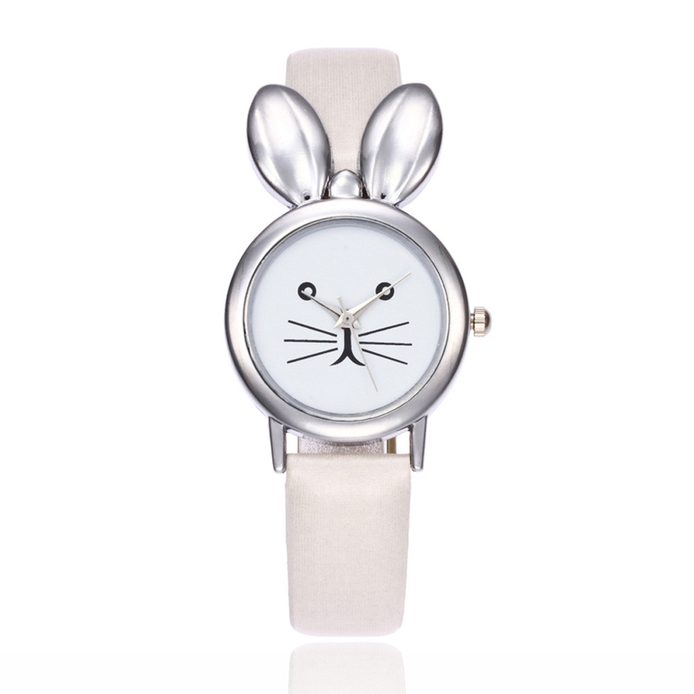 Girls Lovely Watch Women Rabbit Ears Leisure Time Faux Leather Analog Simple WristWatches Vogue Casual Stylish zegarek damski A6 цена