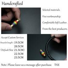 Black & Brown Genuine Braided Leather Stainless Steel Rainbow Charm Bracelet