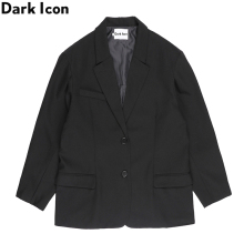 Dark Icon Solid Color Men Women Suit Jacket Split Armhole Special Cutting Mens Black