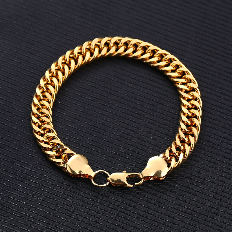 New Style Fashion Jewelry Male Charm Gold Plated Luxury Men Crude Locks Bracelets Bangles For