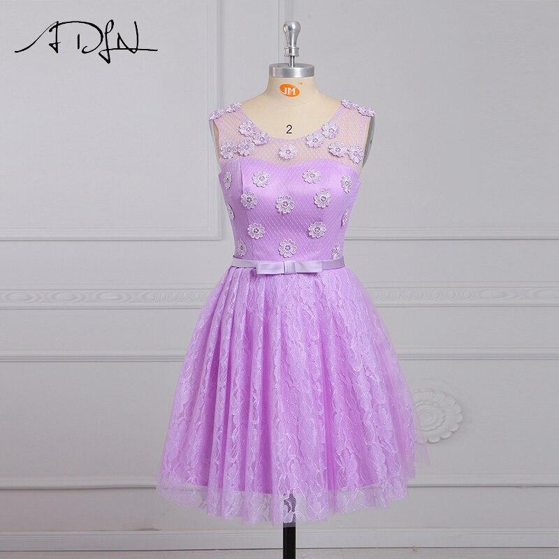 ADLN Simple Scoop Lilac Lace Short   Bridesmaid     Dresses   A-line Knee-length Maid of Honor   Dress   Vestido Madrinha Cheap