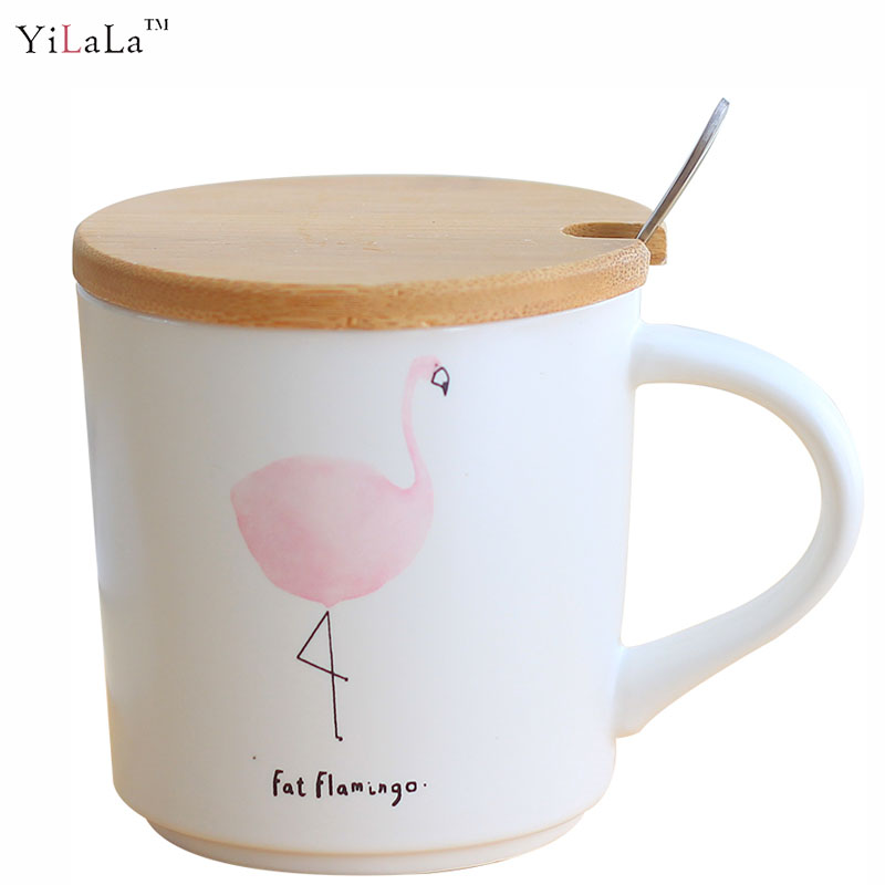1pc Cartoon creative Flamingo ceramic mug with lid spoon coffee cup water cup drinkware gift