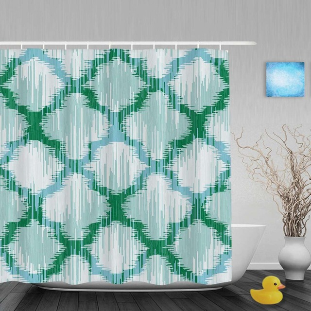 Abstract Art Pattern Bathroom Showe Curtains Moroccan Style Home Decor Shower Curtain Waterproof Mildew Polyester Fabric Hooks