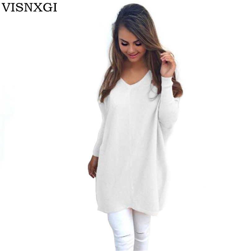 Winter Women Long Thick Sweater V-Neck Collar Long Sleeve Slanted Pocket Knitted Pullover Loose Sweater Tunic Elastic Cloth S262