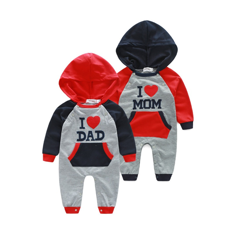 I Love Mom / Dad Newborn Baby Boy Girl Infant Clothes Long Sleeve Hooded Romper Jumpsuit Bodysuit Outfit One Piece Blue / Red
