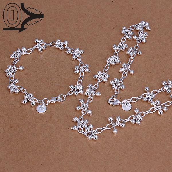 Forceful Hot Sale Silver Plated Jewelry Set,fashion Bridal Party Sets,light Beads Grape Fashion Silver Necklace Bracelet Two Piece Large Assortment Wedding & Engagement Jewelry Bridal Jewelry Sets