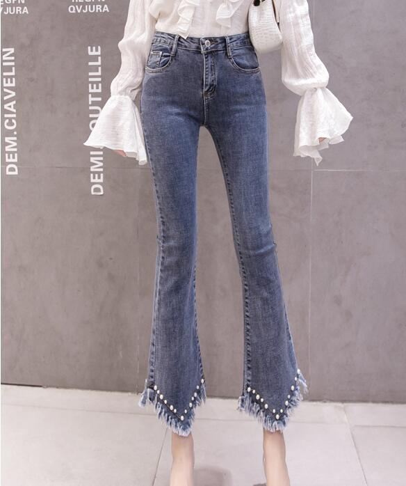 High Waist Women Jeans Flare Pants Tessal Bead Slim Fashion Pants High Waist High Elastic Ankle-Length Denim Trousers 17