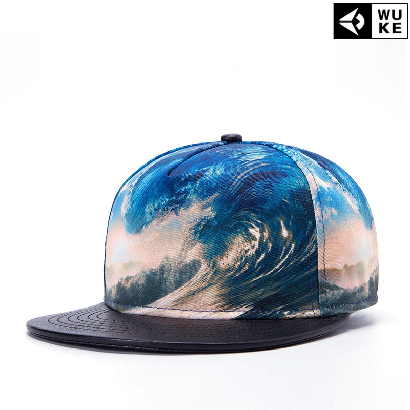 3D dancer 2015 new stylish hip-hop Cap heat transfer waves flat-top hip hop  Hat Korea version Hat wholesale 30170c0fa62