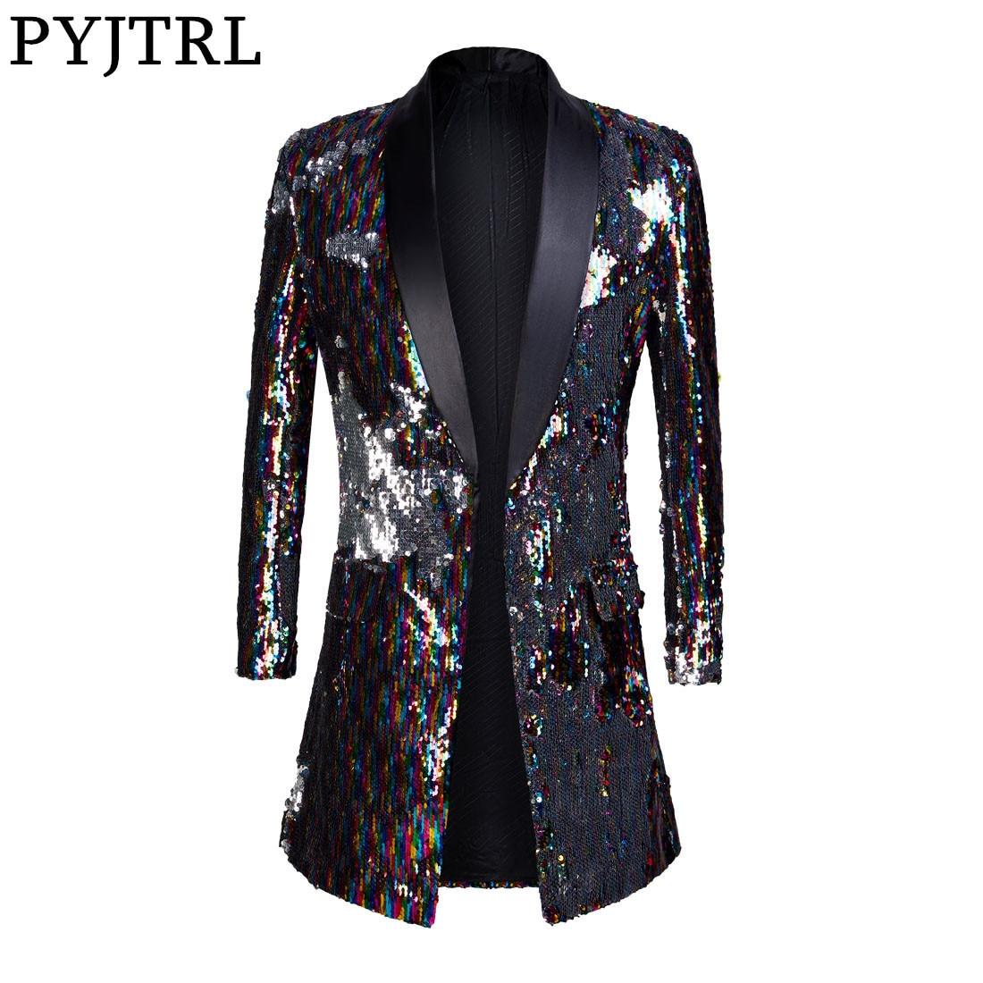 PYJTRL זכר אופנה צעיף דש דו צדדי צבעוני פאייטים ארוך חליפות מעיל בלייזר Masculino Slim Fit גברים DJ זינגר תלבושות