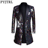 PYJTRL Male Fashion Shawl Lapel Double sided Colorful Sequins Long Suits Jacket Blazer Masculino Slim Fit Men DJ Singer Costume