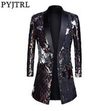 PYJTRL erkek moda şal yaka çift taraflı renkli Sequins uzun takım elbise ceket Blazer Masculino slim fit uzun kollu erkek gömlek DJ şarkıcı kostüm