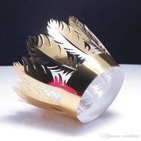 120 stks/partij Party Banket Cake Cupcake Omliggende Rand Bladeren Ontwerp Laser Cut Reflecterende Papier Wrapper Verpakking wc574