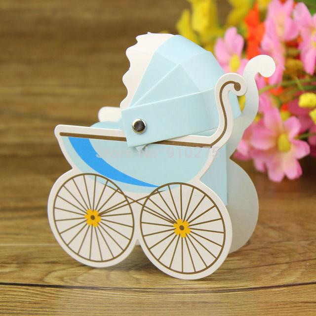 100 pcs/lot Baby Stroller Candy Box Baby Baptism Favors Candy Box Gift Boxes Baby Shower Birthday Party Decoration Kids