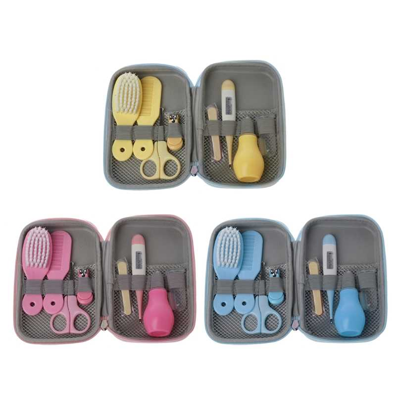 8Pcs/Set Newborn Baby Kids Nail Hair Health Care Thermometer Grooming Brush Kit   SEP03 Drop shipping