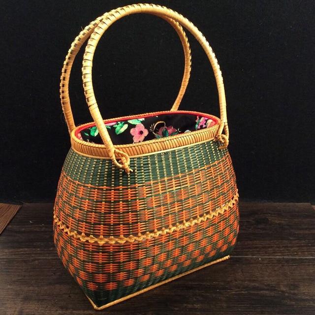 fashion Handmade Shopping bag Holiday Rattan Handbags Travel Rattan ...