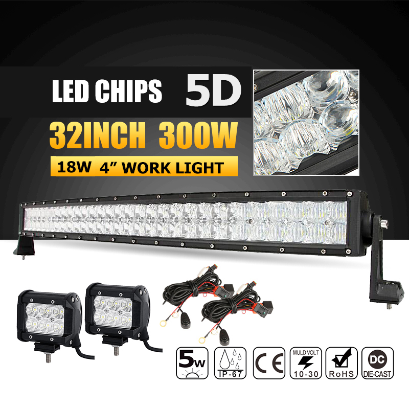 Oslamp 5D LED Light Bar 32 300W Combo Beam Led Bar Offroad+2x18W 4 Led Work Light Bar for 12v 24v Truck ATV SUV 4WD 4x4 Boat 234w 78 high power cree led work light bar 35 inches led light bar for truck boat atv suv 4wd
