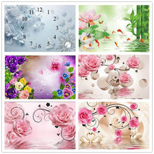 Diamond painting flower pink water diy diamond embroidery 5d floral series full square/round painting Wall Sticker fishing swan(China)