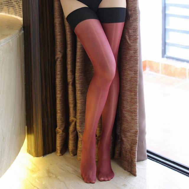 Oil Shine Retro Contrast Color 30 Den Stockings
