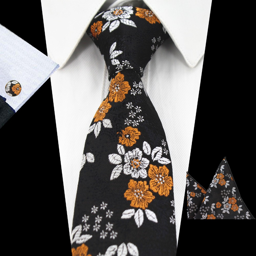 Fashion Mens Tie Set Cotton Floral Ties High Quality Neckties Hanky On SALE