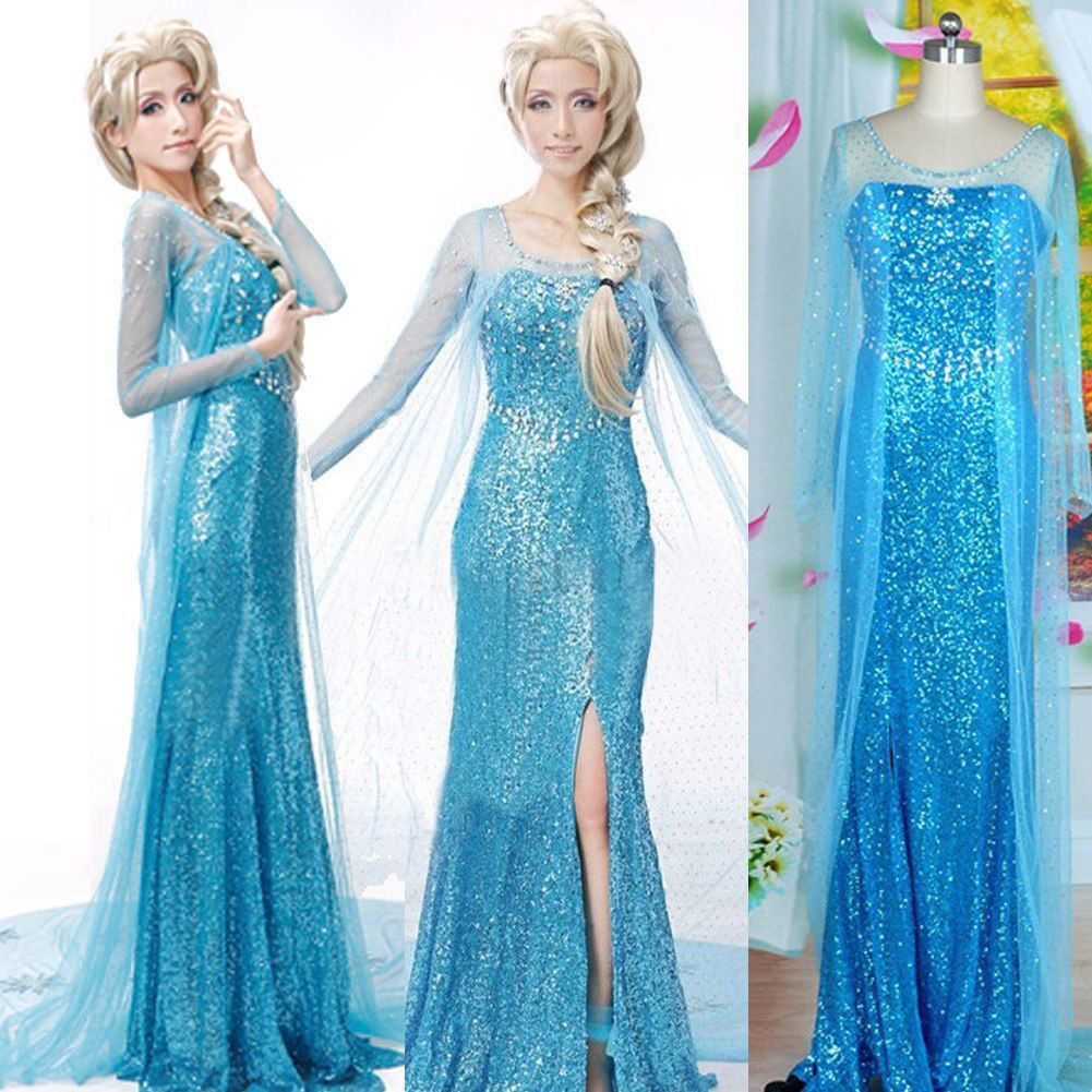 Sexy Snow Elsa Queen Women Dress Cosplay Party Fancy Gown Dresses on ...