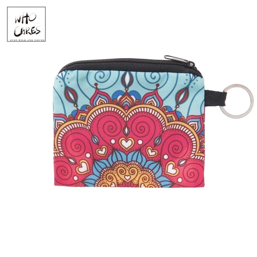 Coin Purse Porte Zipper-Pouch Wallet Women Square Mandala Girl Mini Who Cares Bolsa Key-Bags