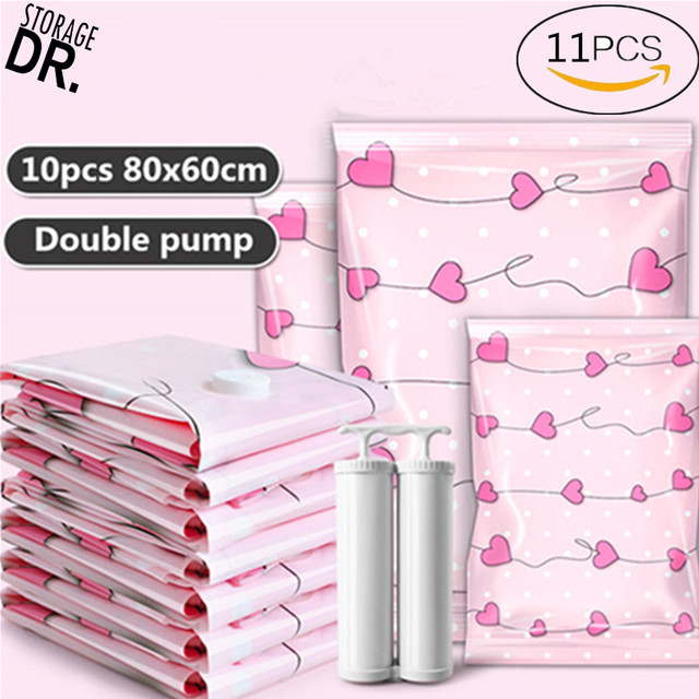 Dr Storage 10pcs 80x60cm Vacuum Bags For Clothes With Pump E Saver Va Bag Vakuum