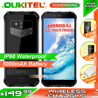 OUKITEL WP1 5.5 inch multi touch HD+Mobie phone MTK6763 4GB RAM 64GB ROM Android 8.1 IP68 Waterproof Smart Phone 5000mAh