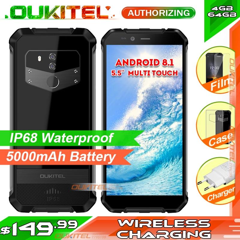 OUKITEL WP1 5.5 pouces multi touch HD + téléphone portable MTK6763 4 GB RAM 64 GB ROM Android 8.1 IP68 téléphone intelligent étanche 5000 mAh