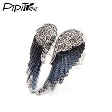 Pipitree 2019 alas de Ángel a la moda anillo joyería para motero Punk 11 colores oro antiguo Vintage anillos de diamantes de imitación para hombres y mujeres
