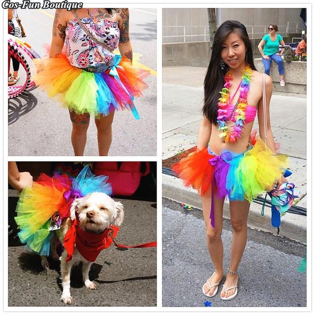 d632aff356a8e Rainbow Gay Pride Tutu Skirt Summer Women Beach Party Sexy Skirt Adult Girl  Skirt One Size 35CM Colorful Woman Skirt 2018