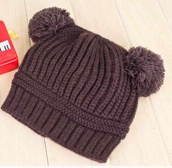 เด็กหมวกลูกปืนคู่ฤดูหนาวทารกหมวกสองลูกขนโครเชต์เด็กหมวกถักหมวกเด็กอุปกรณ์หมวกกันน็อก