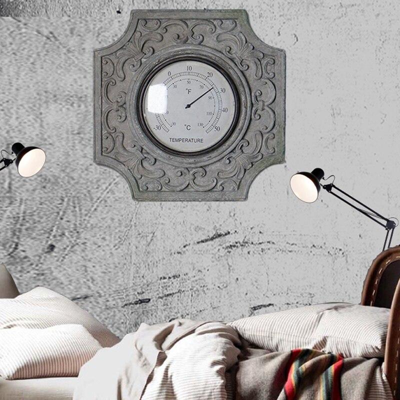 Vintage décoration murale résine classique rétro thermomètre luxe créatif Baroque thermomètre maison décoration murale