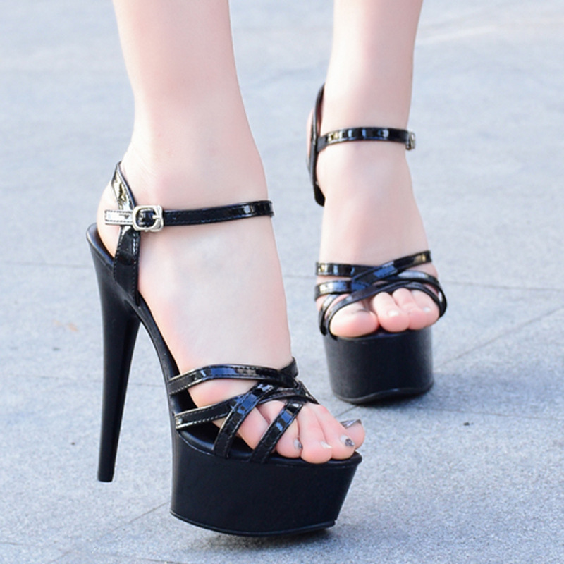 12cm Summer Women Sandal Retro platform Super High Thin Heel Party Bar Shoes Sexy Black Strip Decor Open Toe Non slip Slide Lady