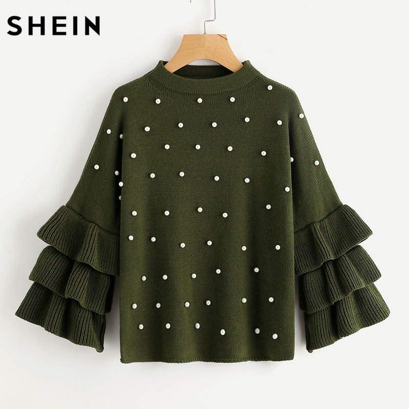 SHEIN Green Pearl Beading Tiered Ruffle Sleeve Jumper Autumn Womens Crew Neck Long Sleeve Loose Pullovers