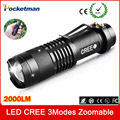 2017 NEW HOT CREE XM-L Q5 2000Lumens Cree led Torch Zoomable Cree Waterproof LED Flashlight Torch Light free shipping
