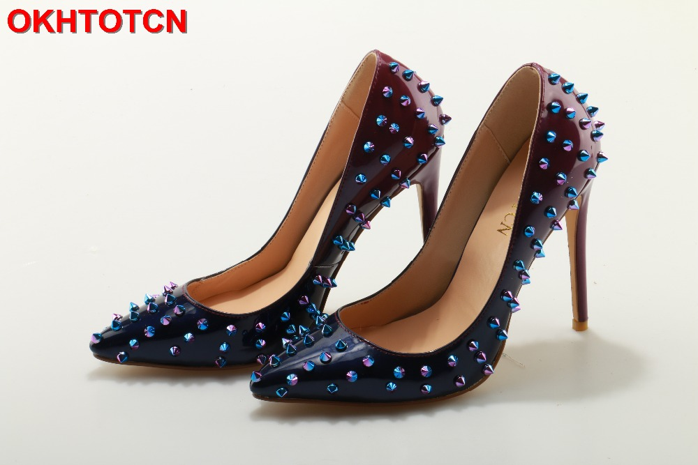OKHOTCN Multi Colored Shoes Woman Pointed Toe Women Pumps Rivet Studded For Wedding Party Dress Shoes Stiletto Heel Plus Size 42 onlymaker ladies women s high heel closed toe pumps rivet studded sandals handmade for wedding party dress stiletto shoes