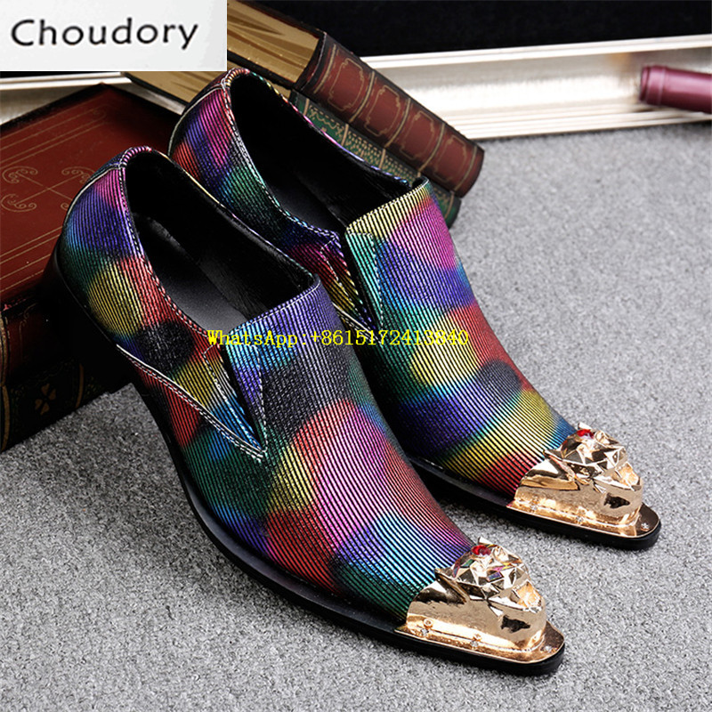 Choudory Fluorescent Light Mixed Colors Breathable Height Increasing Men Shoes Casual Pointed Toe Print Steel Toe Work Shoes Men