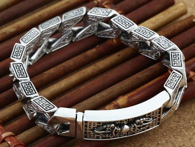 JOOCHEER Sterling S925 silver Bangles 925 Bangle vintage ethnic bracelet